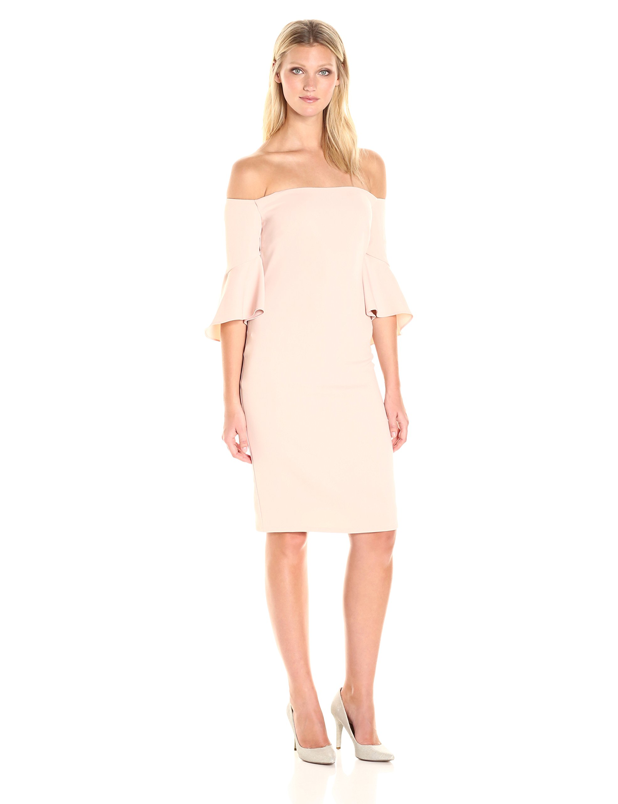 laundry BY SHELLI SEGAL Women's Crepe Off The Shoulder Cocktail, Tinted Blush, 8