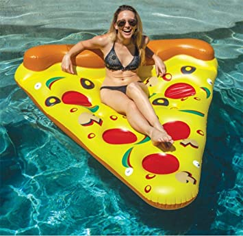 Inflatable Pizza Pool Float Piscina Al Aire Libre Party Giant Pizza Fila Flotante PVC Swimming Ring Flotador De Agua Pizza Water Colchón De Aire Slice Pool ...