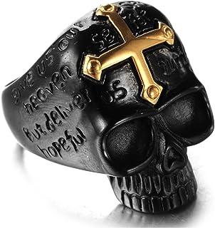 Daesar Anelli In Acciaio Inox Anelli Uomo Anello Croce Punk Cranio Nero Anello Oro Anello Taglia 15-30