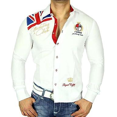Trn 028 Slim Fit Camiseta Contraste de Manga Larga Camisa Polo ...
