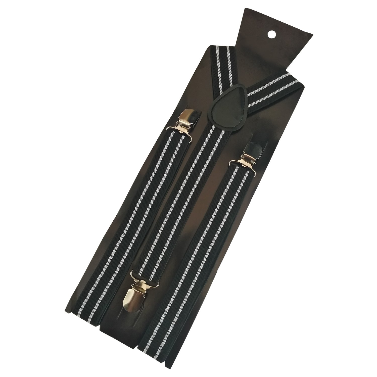 YUNEE Gentlemen Suspenders Solid Color Metal Clips Adjustable Elastic Shoulder Straps (d)