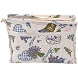 Knitting Bag Yarn Organizer Bag Knitting Needle Storage, Exquisite Practical Wood Handle Woven Fabric Storage Bag for Knitting Needles Sewing Tools(Blue Flower)