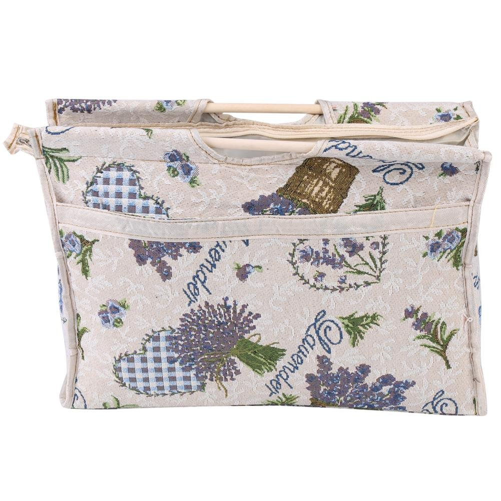 Knitting Bag Exquisite Practical Woven Fabric Storage Bag with Wood Handle for Yarn Knitting Needles Sewing Tools(Blue Flower) Hilitand