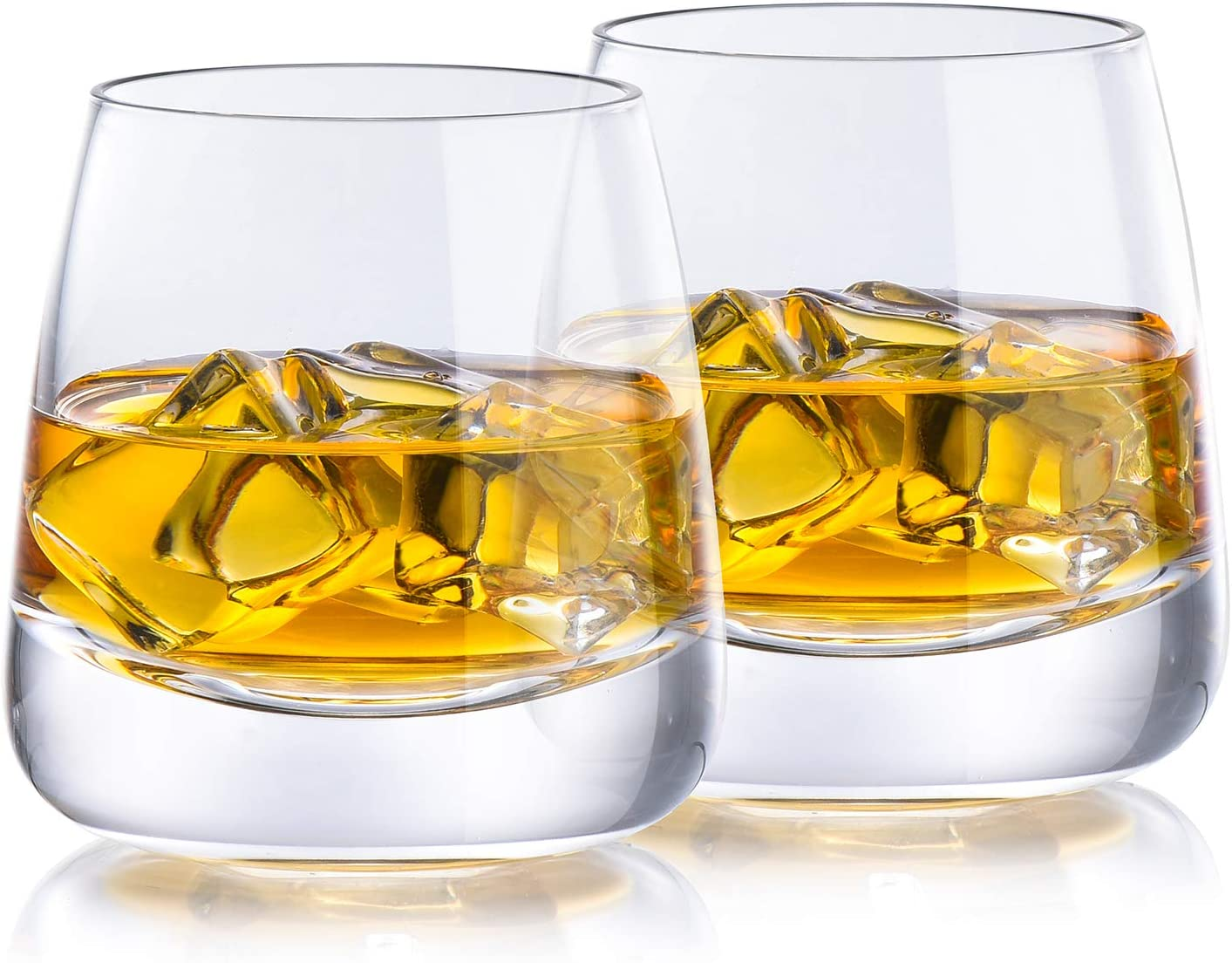 Whiskey Glass Yurnero Old Fashioned Rocks Bourbon Glass set of 2 Thick Weighted Bottom Glass for Whiskey, Hand Blown Scotch Glass for Old Fashioned Glasses, Bourbon,Manhattans,Cocktails or Bar Drinks