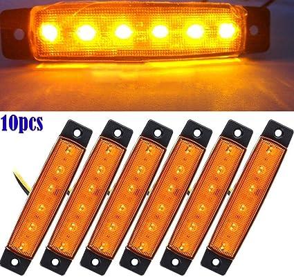Feeilty Auto Seitenlichter 10 Stück 12v Smd 6 Led Heck Seitliche Begrenzungsleuchte Position Anhänger Lkw Gelb 12v Küche Haushalt