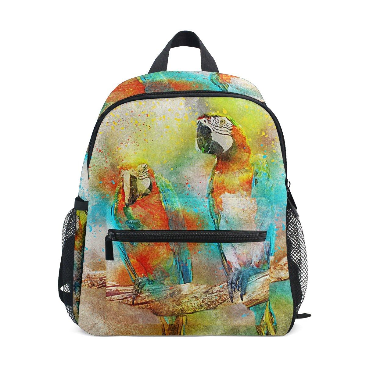 MUOOUM Colorful Bird Parrot Art Painting Kids Backpack Pre-School Toddler Bag Travel Daypack for Boys Girls