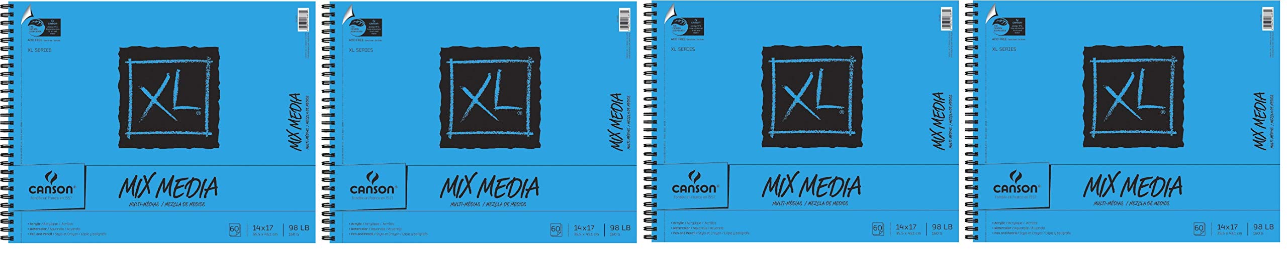 Canson XL Mix-Media Paper, 98 lb, 14 x 17 Inches, 60 Sheets - 100510930 (Fоur Paсk, White) by Canson