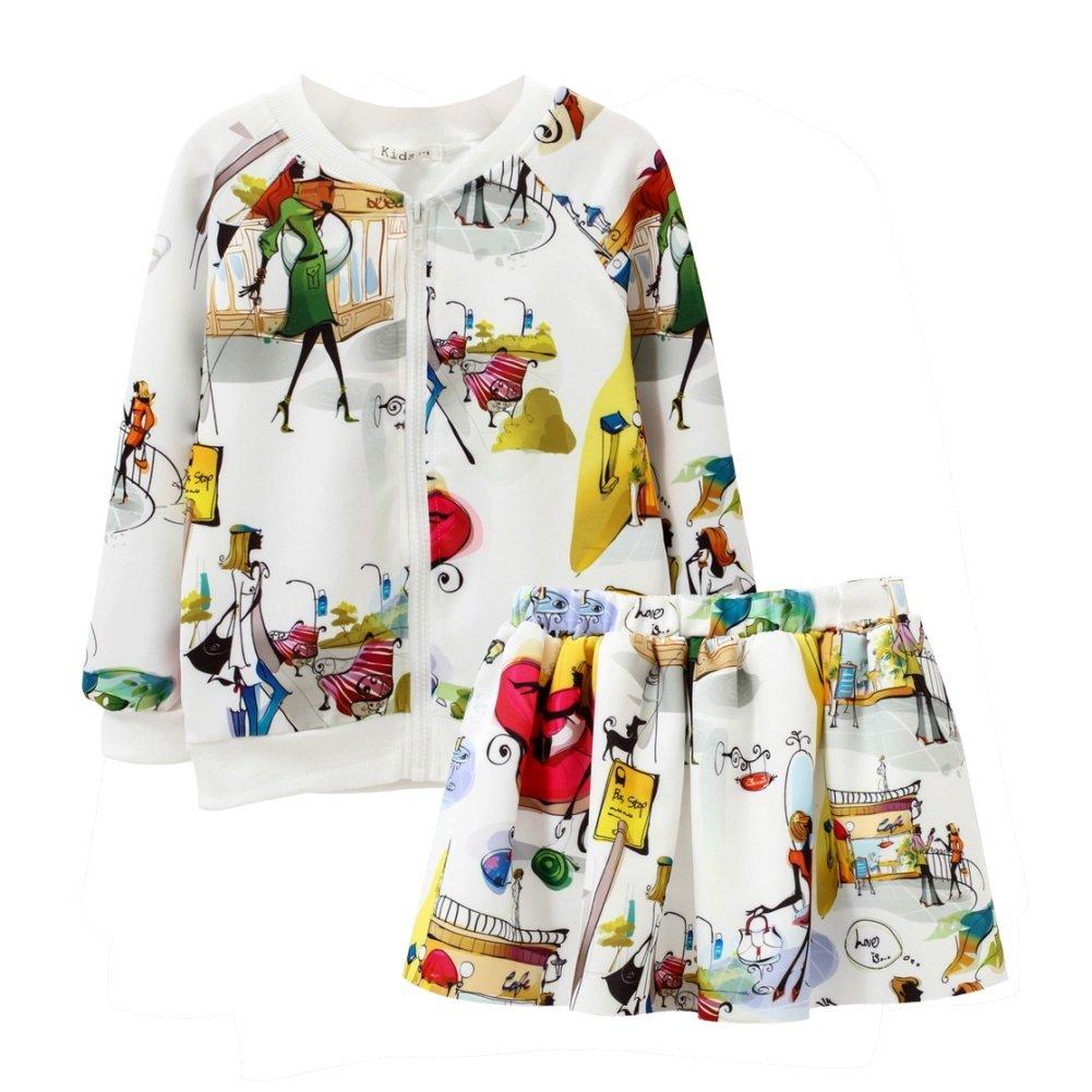 Loveble Girls Long Sleeve Cartoon Print Skirt + Zipper Coat Skirt 2 Pcs Suit Set