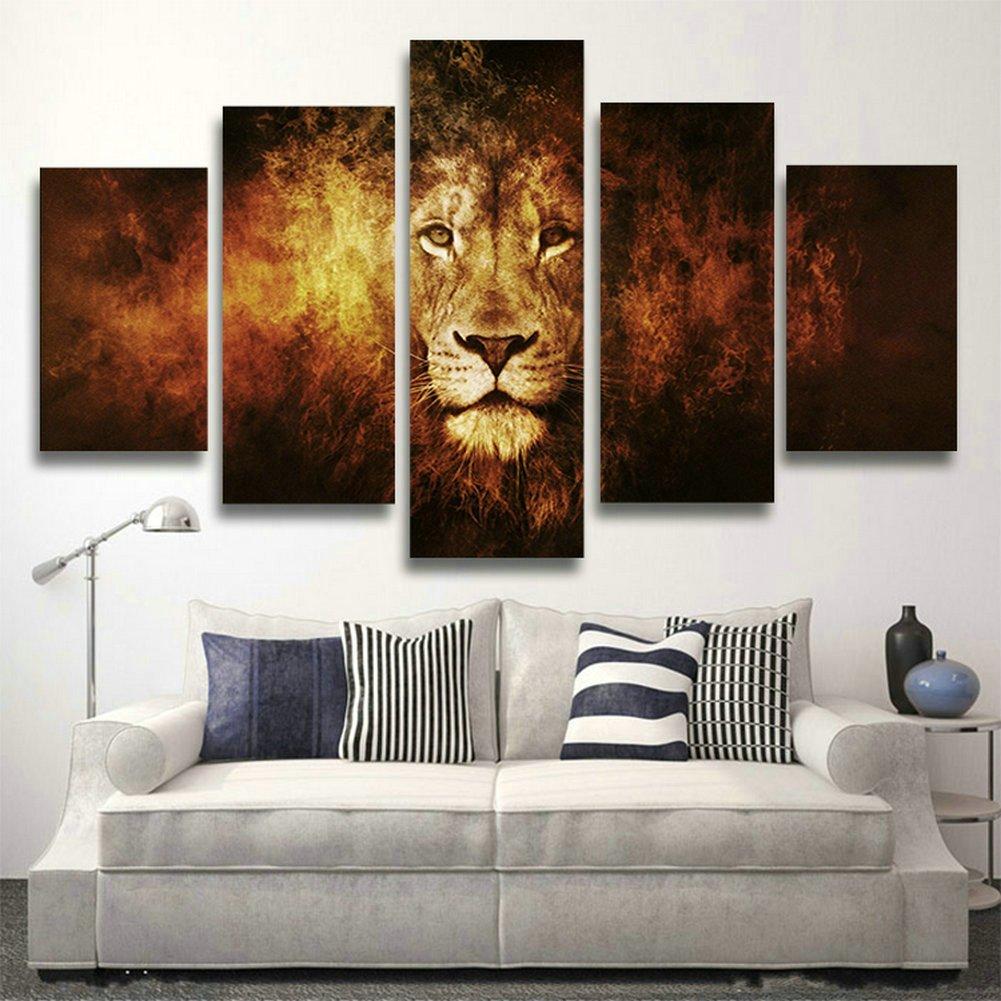 Swmart 5pannello moderna africana tigre dipinti pittura a olio su tela decorazione artistica da parete per soggiorno (senza telaio) SWM19127x 76,2cm, NO Framed, 50W x 28H 50W x 28H SKUS38