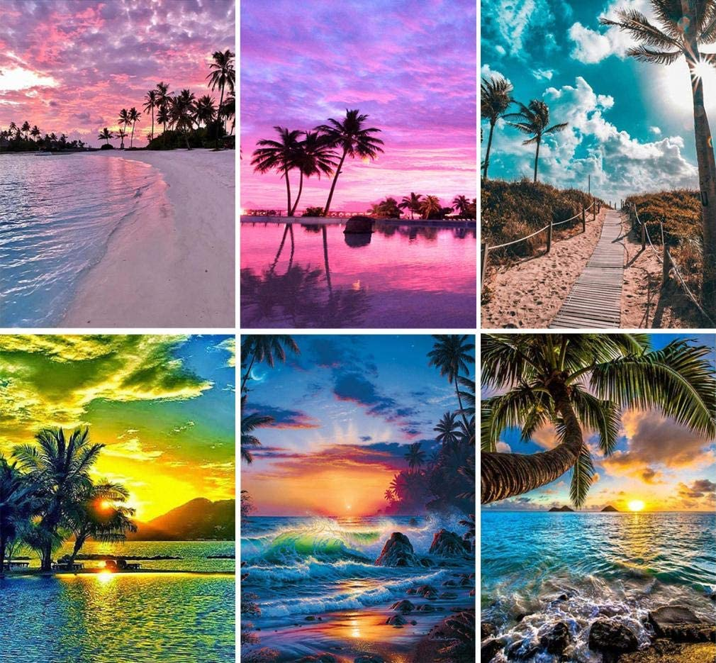 beach DIY 5D Diamond Painting by Number Beach Sunrise Kits for Adults Full Round Drill(18x14inch),Diamond Paintings Embroidery Pictures Arts Craft for Home Wall Decor,5D Painting Dots Kits Landscape