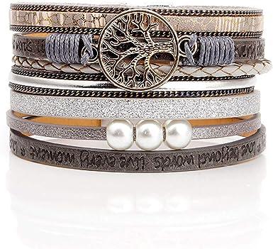 KSQS Tree of Life Leather Multi-Layer Wraps Bracelet,Boho Wide Buckle Wristband Bangle,Braided Cuff Bracelets for Women