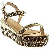 39527bdd32ada5 Angkorly Chaussure Mode Sandale Espadrille Lanière Cheville Plateforme Femme  Clouté Métallique Tréssé Talon Compensé Plateforme 7
