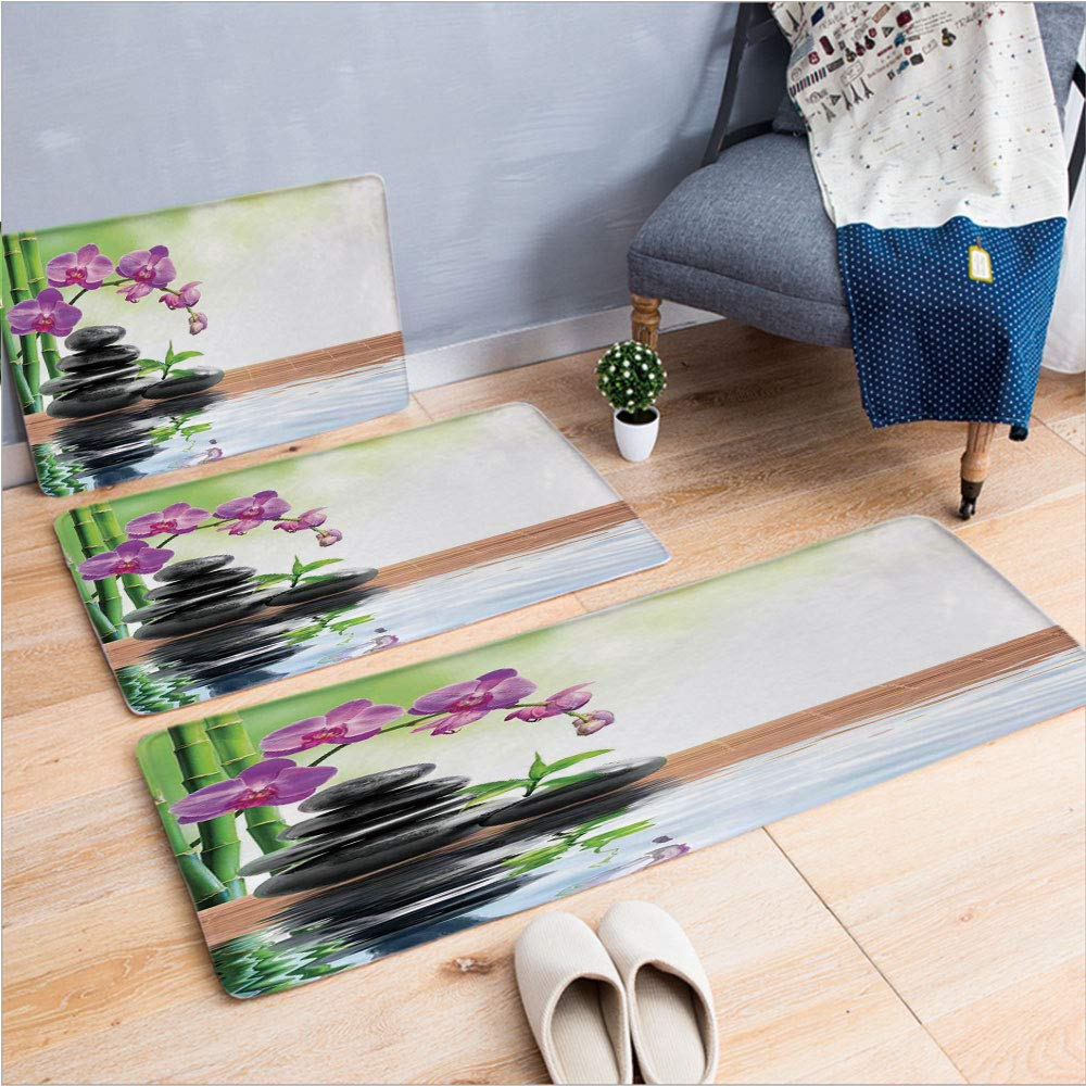 "3 Piece Non-Slip Doormat 3D Print for Door mat Living Room Kitchen Absorbent Kitchen mat,and Health Giving Properties Asian Eastern Way,15.7""x23.6""by23.6""x35.4""by15.7""x39.4"",Coffee Table Carpet windo"