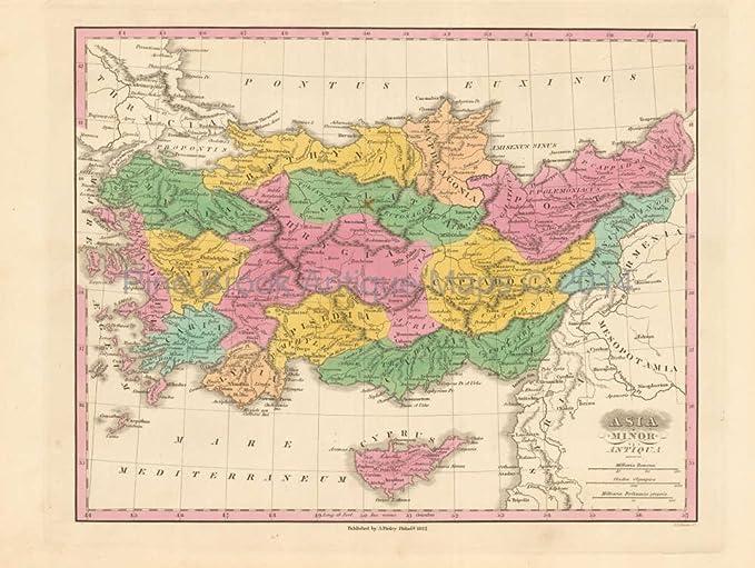 Map Of Asia Minor.Ancient Asia Minor Antique Map Finley 1831 Unique Home Decor