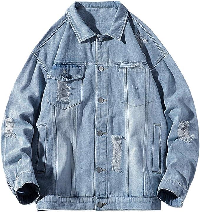 メンズ デニムジャケット 春秋 M-3XL 大きいサイズ ストレッチ ゆったり Gジャン ジージャン 防風 防寒 通勤 通学 お出かけ 合わせやすい カッコイイ ファッション ダメージ加工 3色選べる