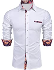 Daupanzees Men's Cotton Dress Shirt Casual Long Sleeve Slim Fit Fashion Luxury Design Print Patchwork Button Down Shirt