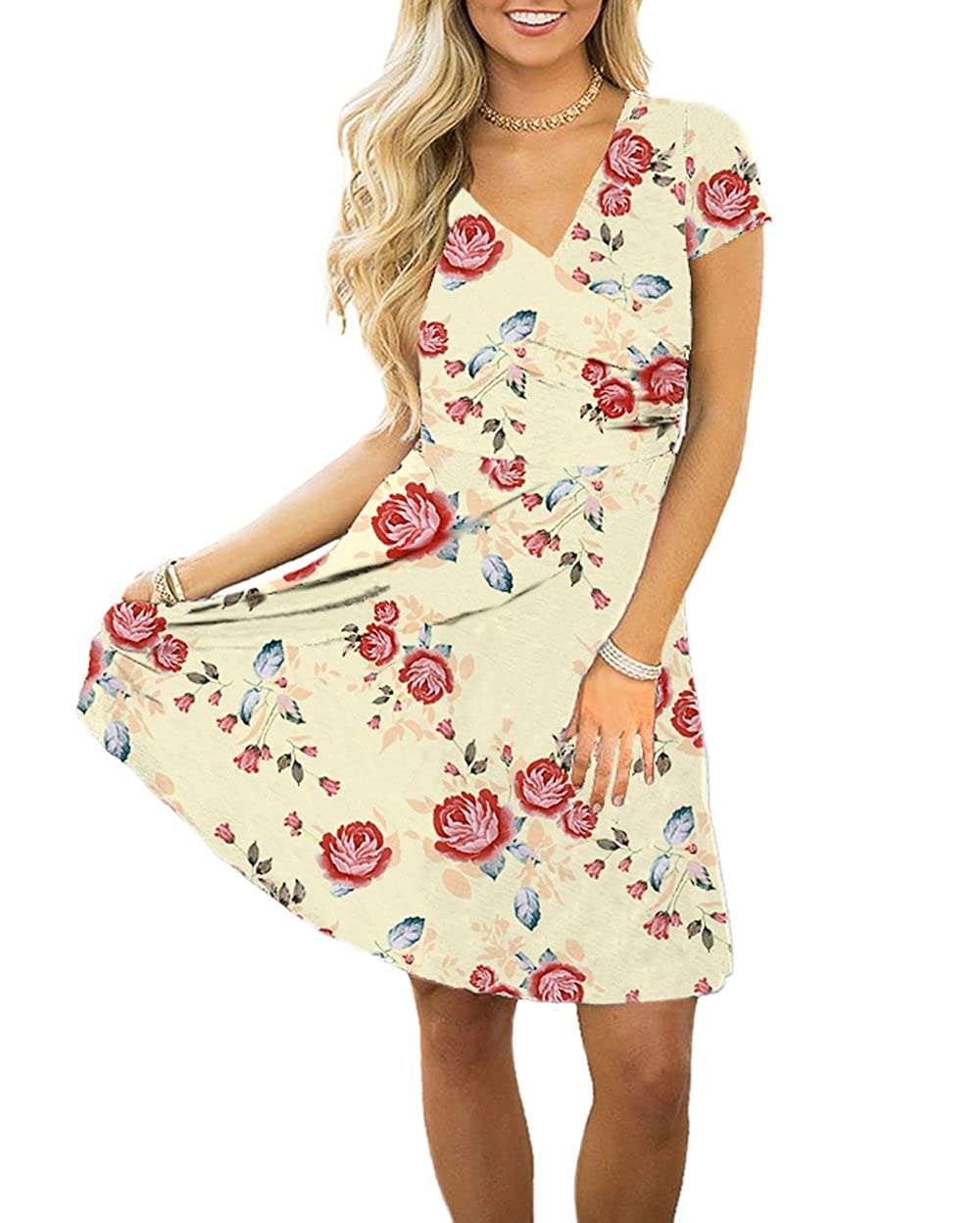 Beige Swiland Women V Neck Short Sleeve Floral Printed Casual Retro Wrap A Line Dress