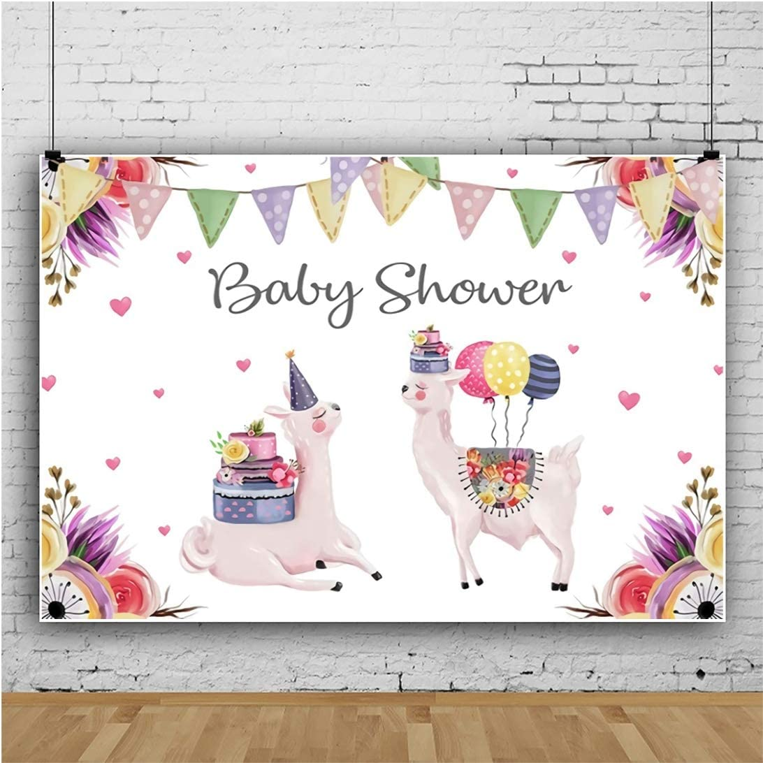YongFoto 12x8ft Photography Background for Baby Shower Celebration Colorful Flowers Garland Cute Alpaca with Balloons Cake Pink Heart Pattern Baby Shower Theme Backdrop Baby Girl Photo Studio Props