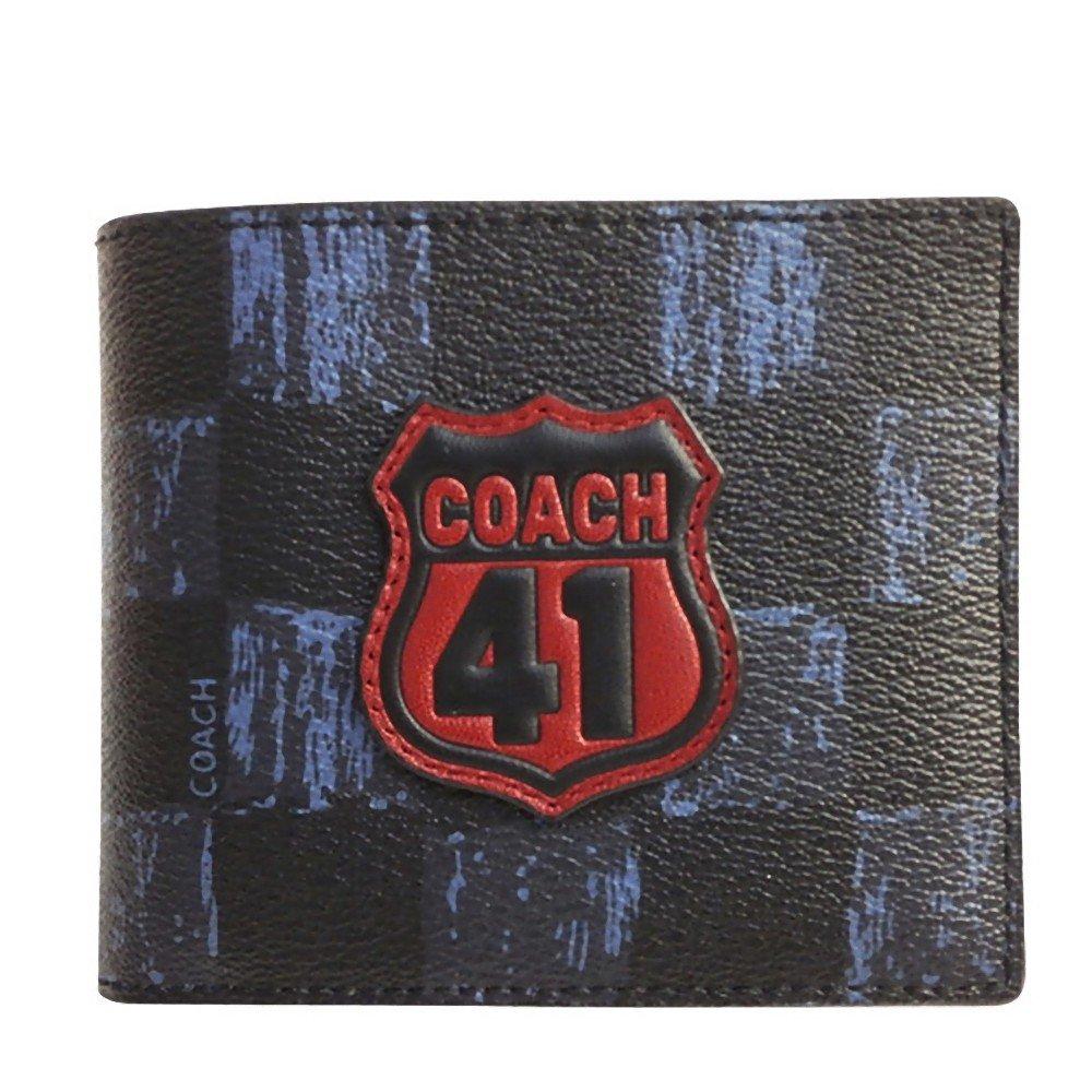 コーチ COACH 財布 折りたたみ財布 メンズ アウトレット レザー チェッカー プリントデザイン IDケース F27052 N3L  コーチ COACH メンズ B07BWD3LSJ