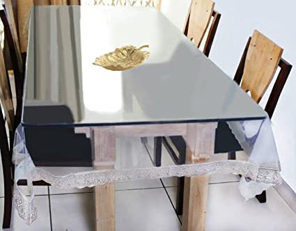 Deerosita� Dining Table Cover Transparent 6 Seater 60X90 Inches (Golden Lace)