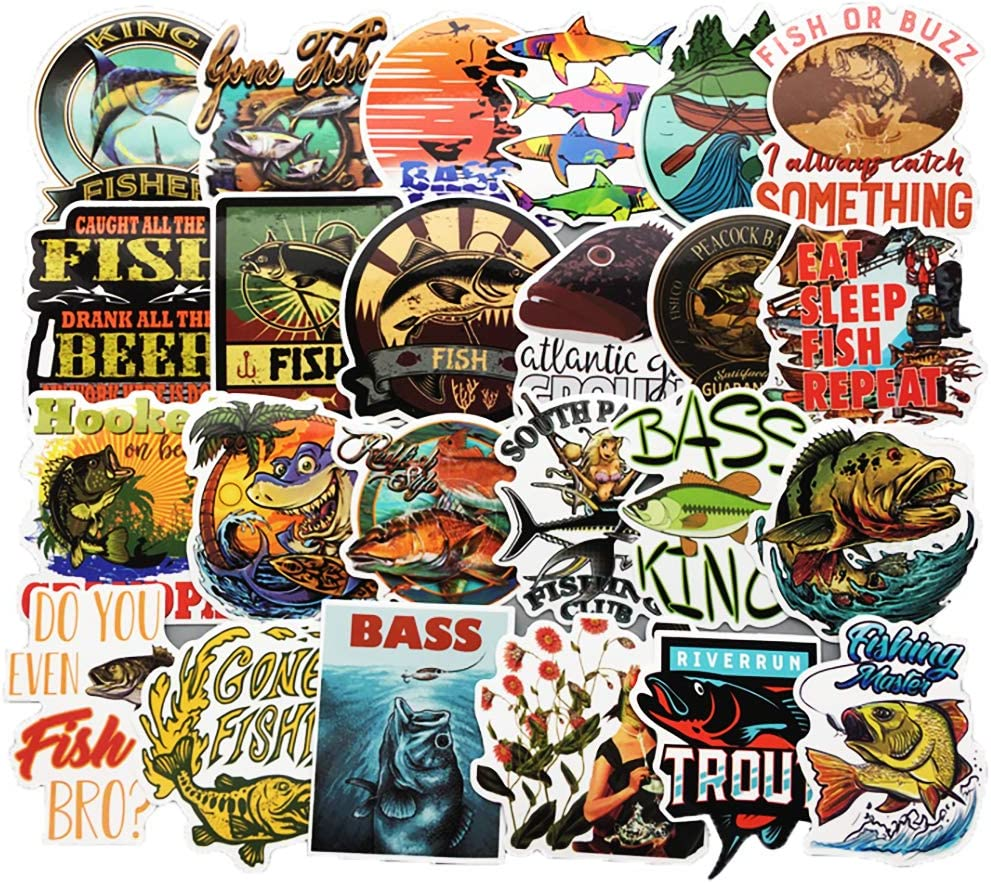 Vinyl Bass Fishing Stickers 65 Pcs Pack Fly Fishing Decals for Laptop Ipad Car Luggage Water Bottle Helmet Truck