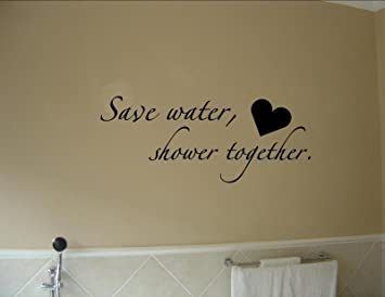 Amazoncom Boodecal Quote Series Wall Decals Save Water Shower - Cute sayings for bathroom walls