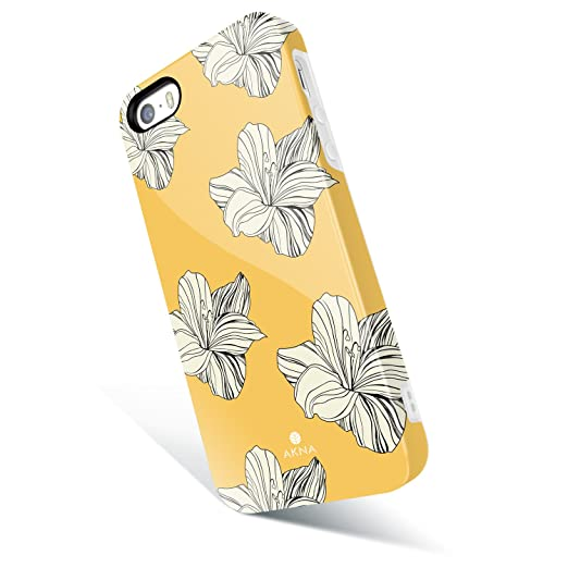 I Phone 5 / 5s /Se Case For Girls, Akna Get It Now Collection High Impact Flexible Silicon Cover For I Phone5/5s/Se [Retro Yellow Floral](343 U.S) by Akna Case