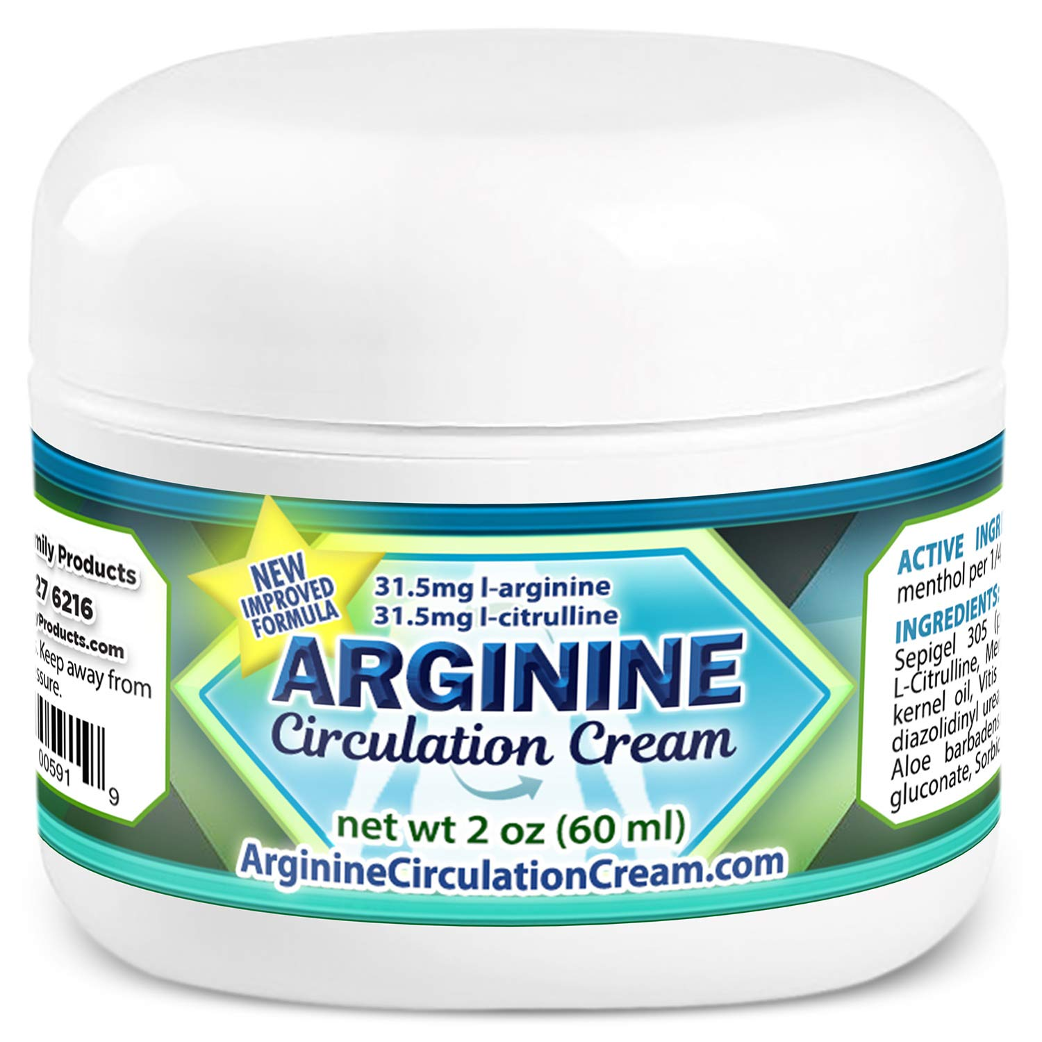 Arginine Circulation Cream - Menthol, L Arginine & L Citrulline Circulation Lotion - Improve Blood Circulation to Cold Hands and Feet - Supports Better Blood Flow to Swollen Feet & Legs (2 oz)