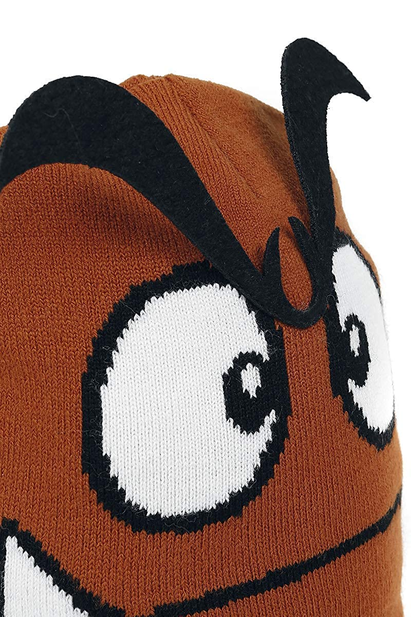 300a9a9b6b5 Amazon.com  Nintendo Beanie Hat Goomba 3D Eyebrows Official Gamer Brown   Clothing