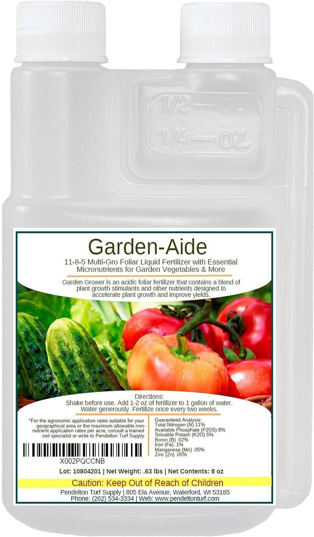 Garden-Aide Liquid Fertilizer   11-8-5 Multi-GRO Foliar Liquid Fertilizer with Essential Micronutrients for Garden Vegetables & More (8oz)