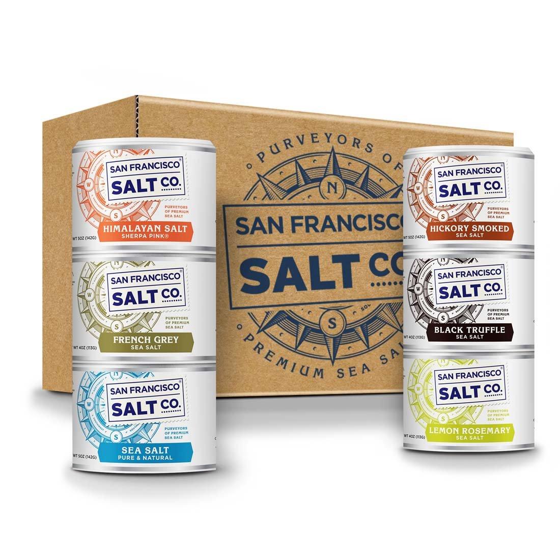 Stackable Salt Shakers – HOME CHEF HERO GIFT SET – Sherpa Pink Himalayan Salt, French Grey Sea Salt, Hickory Smoked Sea Salt, Black Truffle Sea Salt, Pacific Sea Salt, Lemon Rosemary Sea Salt by San Francisco Salt Company (Image #8)