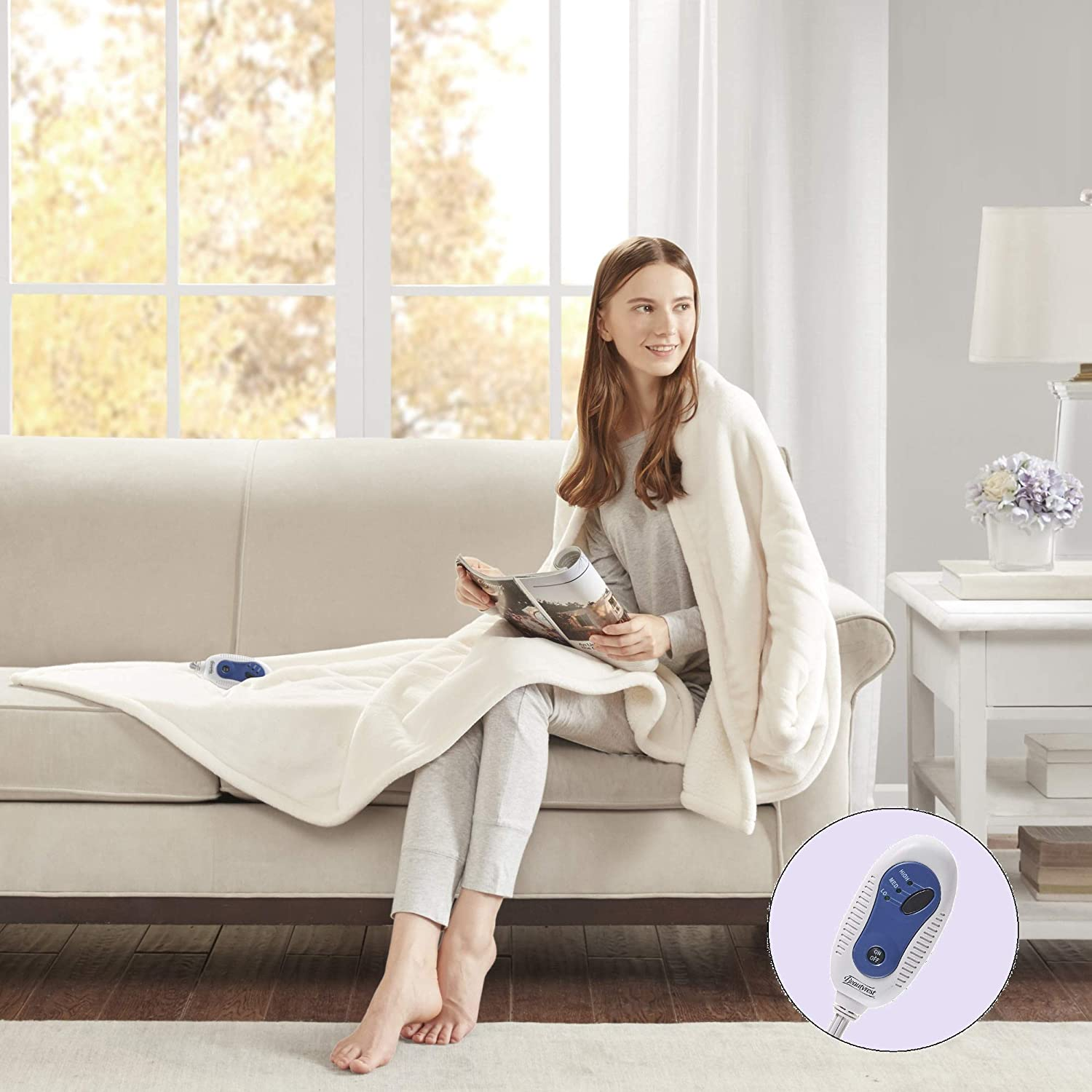 Beautyrest Plush Heated Electric Throw Blanket-Secure Comfort Technology Cozy Soft Microlight to Berber, 60x70, Ivory