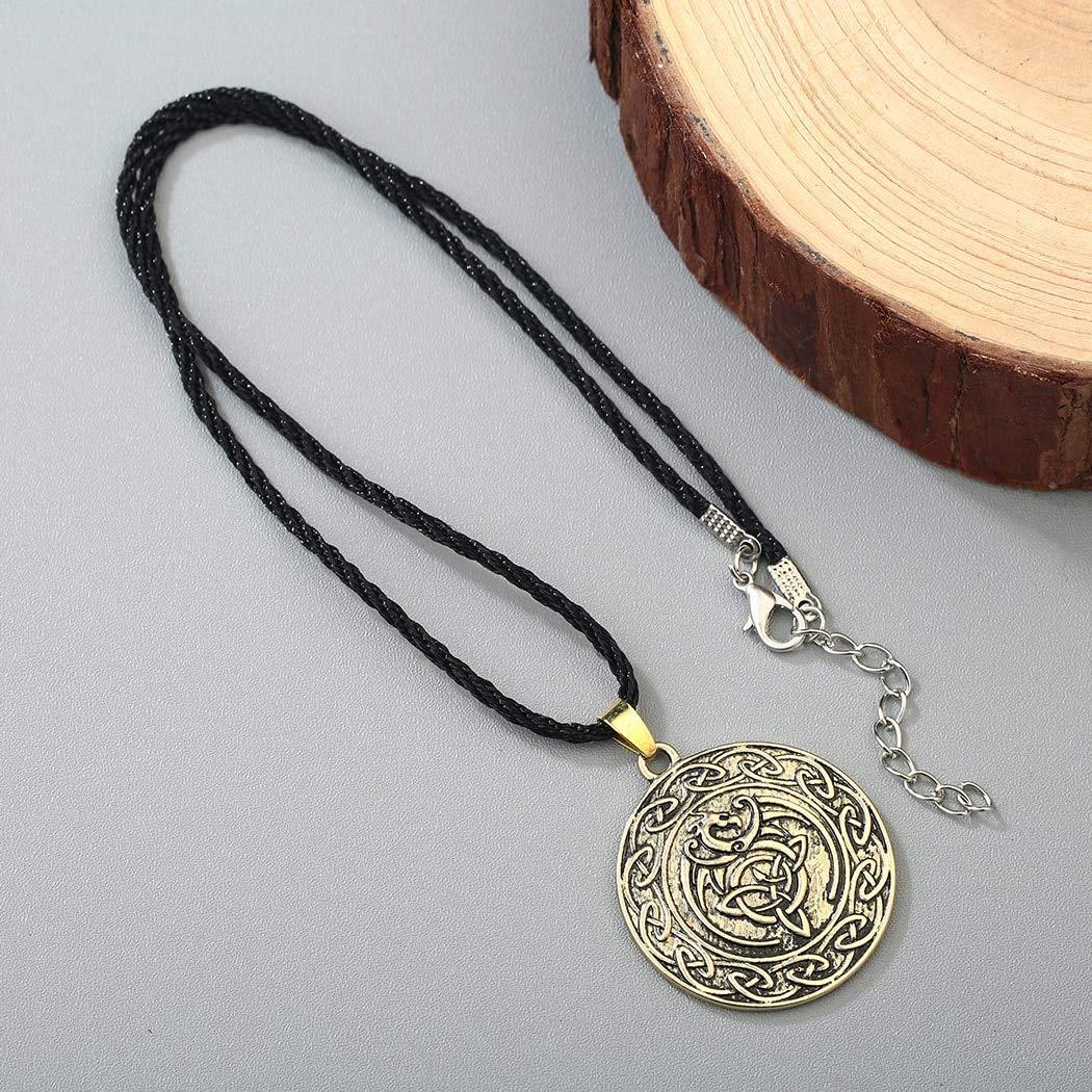 Valknut Double Side Viking Slavic Necklace For Men Talisman Knot Dragon Punk Pendant Necklaces Boy Gift