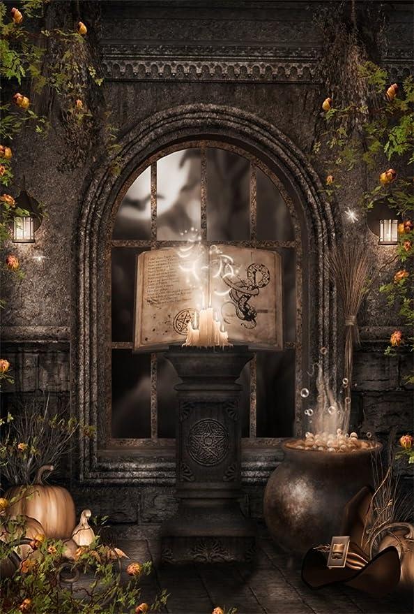 GoEoo 5x7FT Vinyl Backdrop Photography Fantasy Room Magic Book Potions Candles Enchanted House Skulls Wizard Scene Children Adults Portraits Backdrop Photo Studio Prop Halloween Horror Night