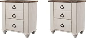 Ashley Furniture Signature Design - Willowton Nightstand - Rustic Farmhouse Style - White Wash (Pack of 2)