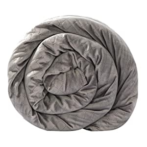 BlanQuil Quilted Weighted Blanket (Grey 20lb) W/Removable Cover.