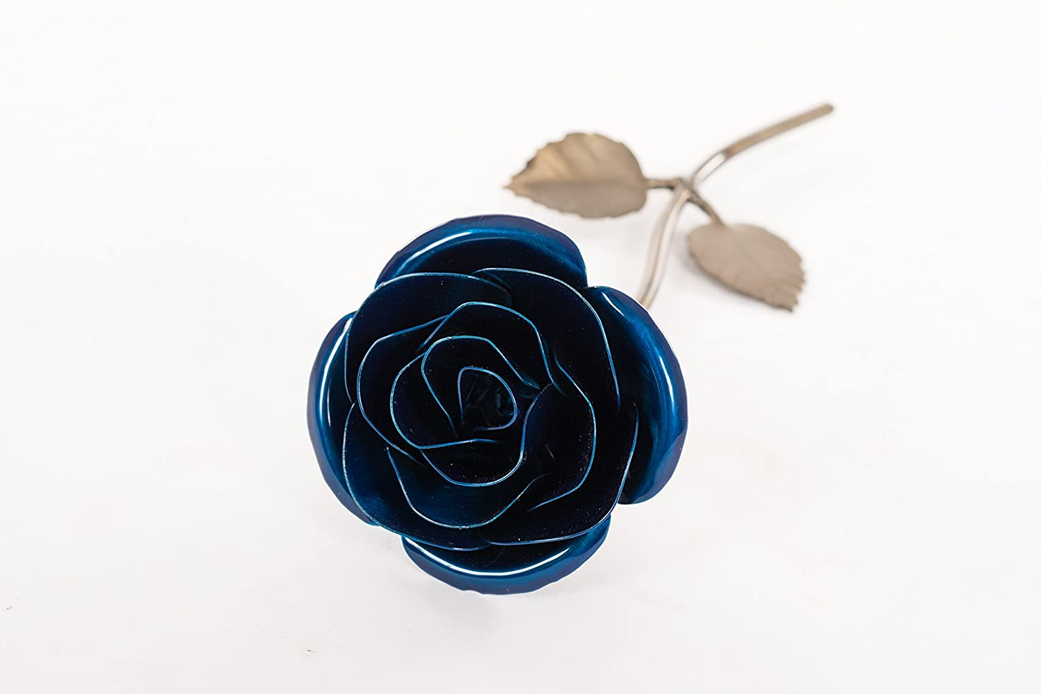 Personalized Hand Forged Wrought Iron Blue Metal Rose