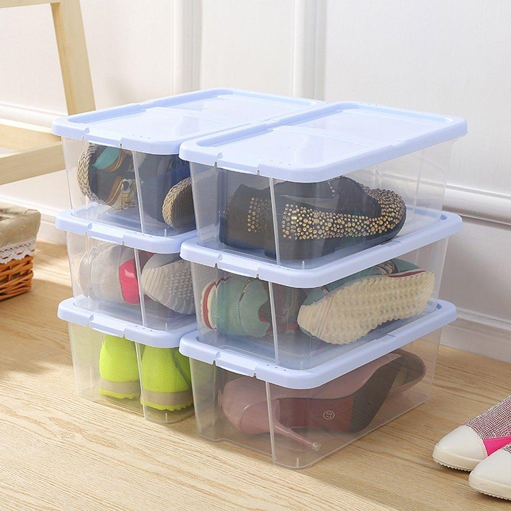Unbekannt Dicke Kunststoff - Kombination aus transparentem Schuhkarton Schuh Aufbewahrungsbox Männer und Frauen Schuhkarton Feuchtigkeit - Proof Schuhschrank 6 (Farbe : Khaki) LIGHTIG