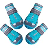 QUMY Dog Shoes for Hot Pavement Boots for Dogs Summer Booties Heat Protection Mesh Breathable Nonslip with Reflective…