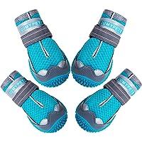 QUMY Zapatos para perros para pavimentos calientes botas de verano botas de protección térmica de malla transpirable…