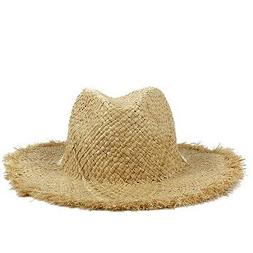 e4bad63d06a4f BAOJU Home Sombrero - Tejido Hecho a Mano Playa de Rafia Sombrero para el  Sol para Mujer Verano de ala Ancha Sunbonnet Sombrero de Panamá Sombrero ...