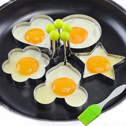 Neon - Juego de 5 moldes para huevos fritos, antiadherentes, acero inoxidable, con