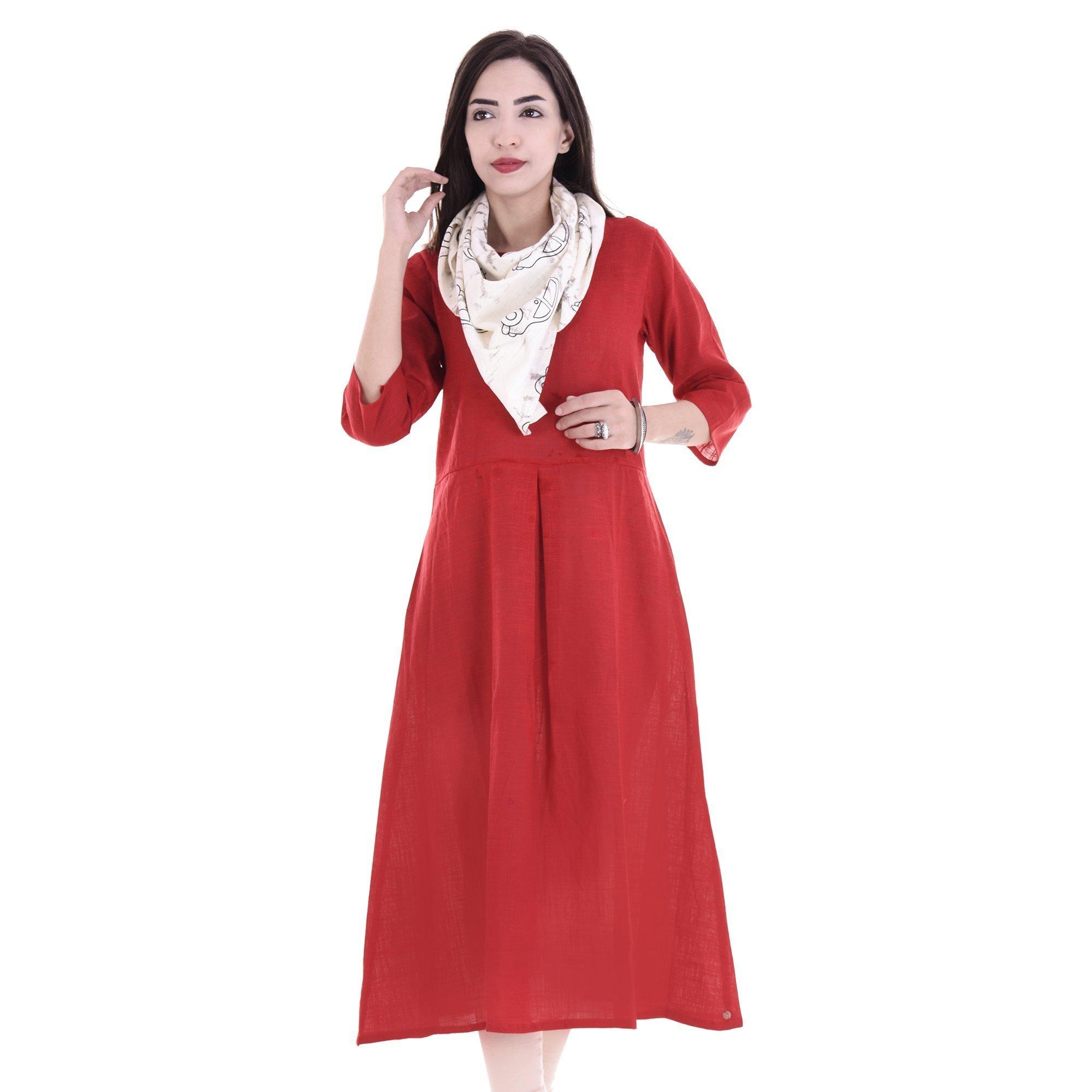 Chichi Indian Women Kurta Kurti 3/4 Sleeve X-Large Size Plain with Scarf Round Maroon Top