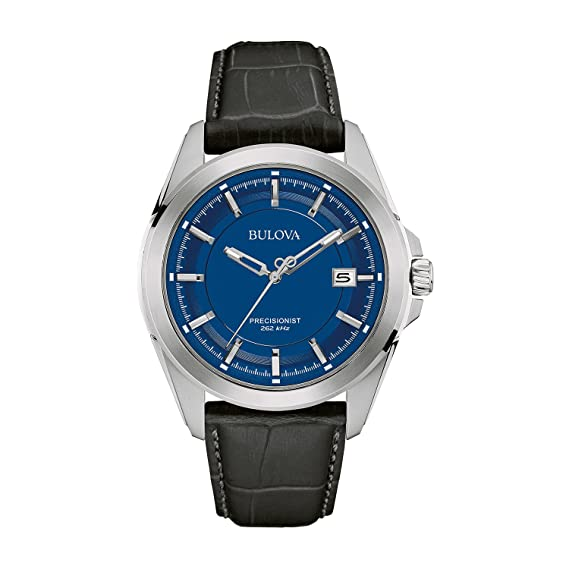 Bulova Precisionist 96B257 - Reloj de Pulsera de diseño para Hombre - Correa de Cuero - Esfera Azul: Amazon.es: Relojes