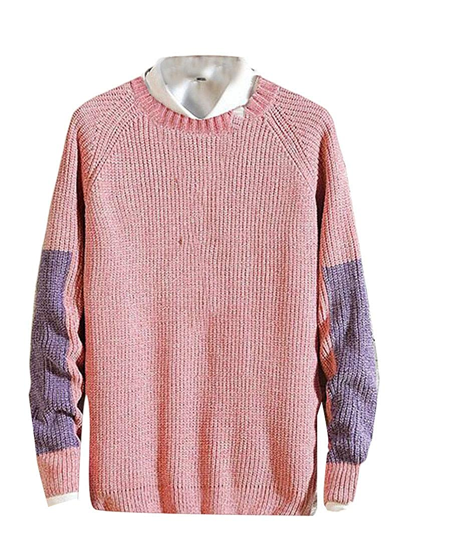 Lutratocro Mens Loose Fit Knitted Crewneck Spell Color Pullover Jumper Sweaters