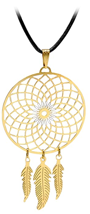 ea97a7c63be88a Kaltner Präsente Geschenkidee - Lederkette für Damen und Herren mit  Traumfänger Anhänger Edelstahl vergoldet (Ø