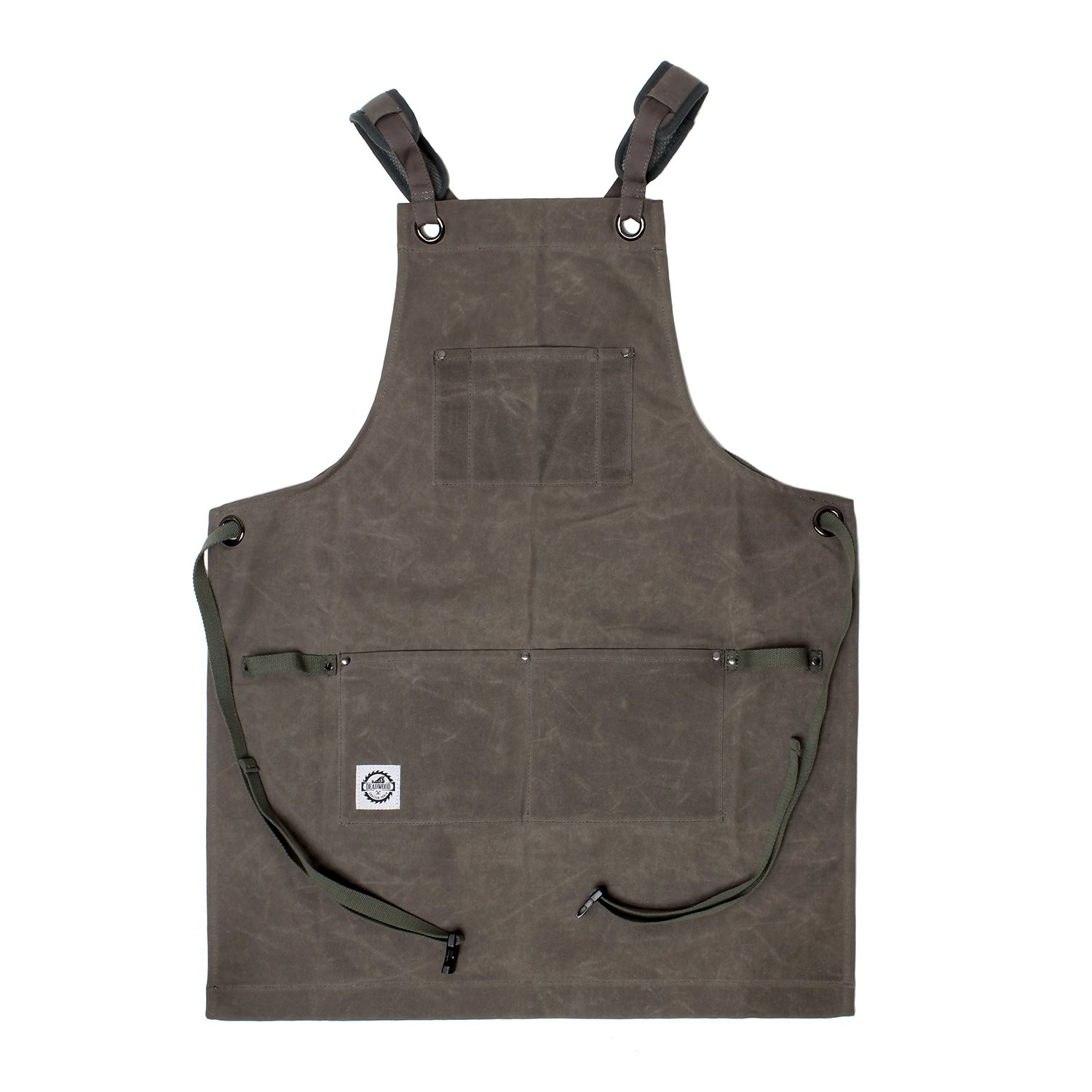 DCT 16oz Waxed Canvas Apron with Tool Pockets in Gray – Cross-Back Straps, Buckle Clip, Men Women Woodworking Painting