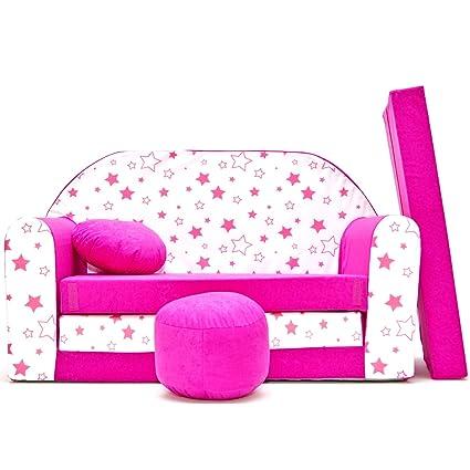 H38 - Sofá para niños, cama acogedora (estrellas rosas ...