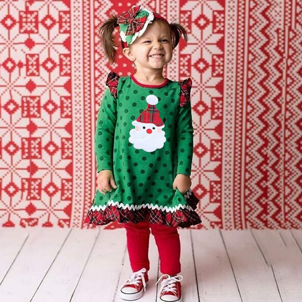 Ansenesna Weihnachten Kost/üm Kinder M/ädchen Kleid Langarm Baumwolle Soft Elegant Weihnachts Kleidung