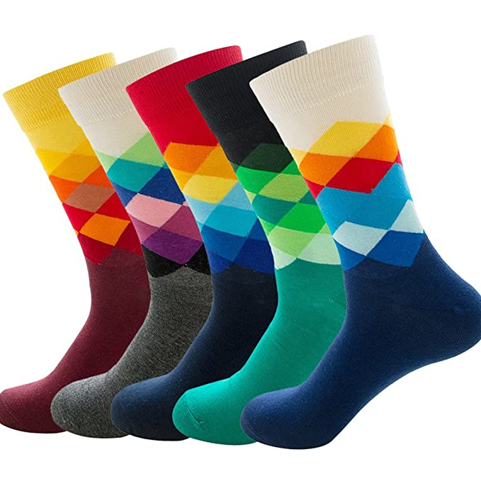 5cb05742b592 DRASEX Mens Dress Socks Combed Cotton Gradient Argyle Patterned Casual Crew  Sock